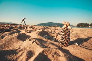 dennenappel in zand en heldere blauwe hemel foto