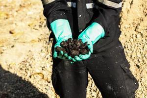 ontwikkeling van oliezanden vanuit een olieboringsdistrict. foto