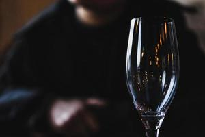 helder champagneglas foto