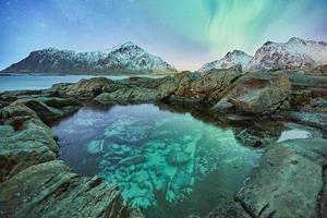een blauw meer omgeven door bergen en rotsen onder aurora borealis foto