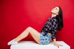 close-upportret van mooi jong meisje foto