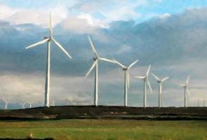 eolic park met windmolens foto