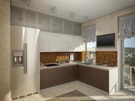 3d illustratie van keuken met houten en glasvoorgevel foto