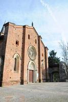castiglione olona de middeleeuwse collegiata (kerk), gevel, vare foto