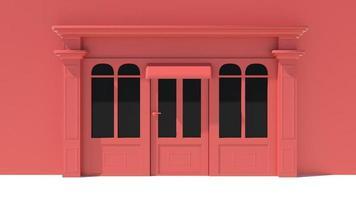 zonnig winkelpui met grote ramen met witte en rode winkelgevel foto