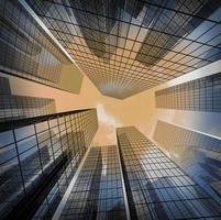 panoramisch en perspectief groothoekbeeld naar staal lichtblauw foto
