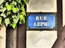 parijs -plaque de rue - rue lepic - montmartre foto
