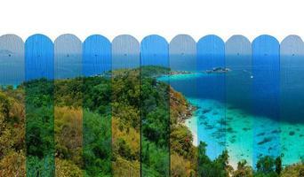 """""""zeegezicht van similan eiland"""" muurschildering. het houten hekwerk c foto"""
