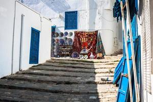 straat in de stad Sidi Bou Said, Tunesië foto
