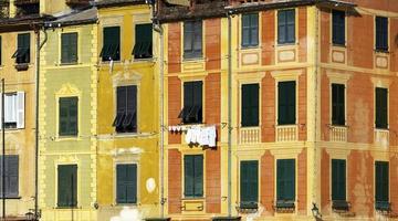 portofino's huizen detail. kleurenafbeelding foto