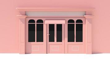 zonnig winkelpui met grote ramen met witte en roze winkelgevel foto
