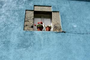detail. gevel van een landhuis in Cantabrië. Spanje. Europa.