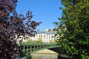 siene rivier in Parijs met doacking boten foto
