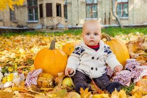 kind in gebreide trui zit onder pompoenen in herfst park foto