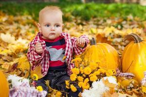 babyjongen in rood overhemd zit onder pompoenen foto