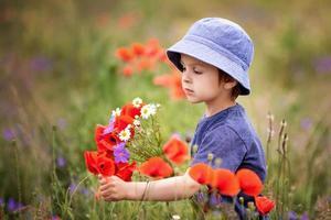 schattige jongen jongen met papaverbloemen en andere wilde bloemen