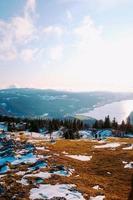 gras, sneeuw, bomen en water foto