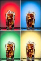 glas met cola en ijs. verzameling van vier achtergronden foto