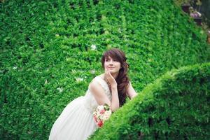 portret van gelukkige bruid foto