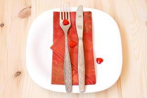 leuke tafelsetting voor Valentijnsdag foto
