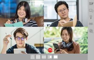 Aziatische zakenmensen in video-oproep foto