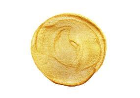 goud geschilderde cirkel op witte achtergrond foto