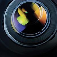 lens kap, grote gedetailleerde macro zoom close-up kleurrijke glazen reflecties foto