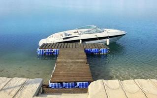 motorboot op ankerplaats foto