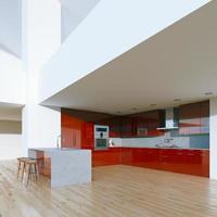 nieuw ingerichte moderne rode keuken in luxe groot huis foto