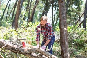 portret van een aantrekkelijke jonge houthakker foto