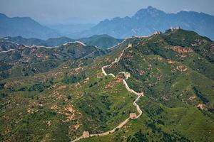 luchtfoto van de grote muur van china