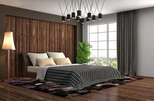 slaapkamer interieur. 3D-afbeelding foto