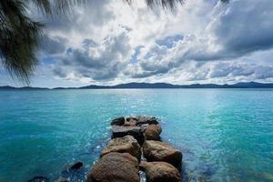 zeegezicht met blauwe lucht en wolken