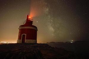 een horizontale opname van een vuurtoren tijdens de nacht