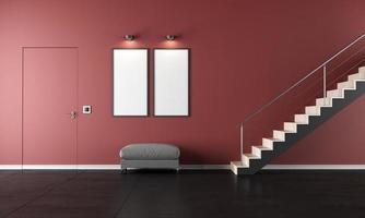 eigentijdse woonkamer met trapopgang foto