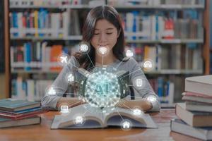 veelhoekige hersenvorm van een kunstmatige intelligentie-overlay op Aziatische student foto