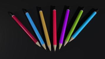 kleurrijke potloden donkere achtergrond