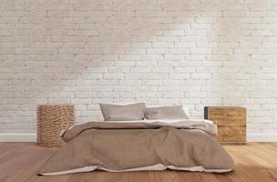 slaapkamer met witte bakstenen muur, foto