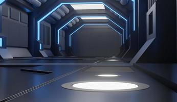 lage hoekmening van ruimteschip interieur