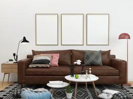 drie lege frames in de woonkamer