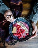 smoothiekom met frambozen foto