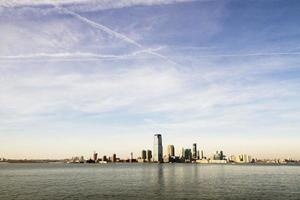 New York skyline bij zonsondergang foto