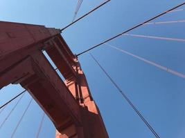 omhoog kijken naar de golden gate bridge foto
