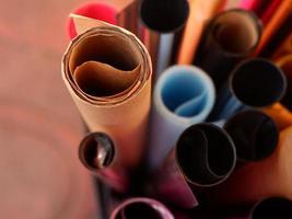 rollen van verschillende soorten papier.