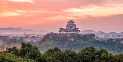 uitzicht op het kasteel van himeji in japan foto