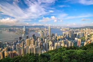 panoramisch uitzicht op de skyline van hong kong.