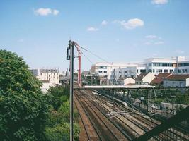 luchtfoto van treinsporen foto