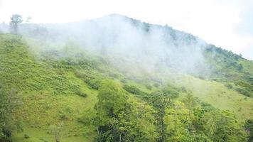 uitzicht op de bergen in het regenseizoen