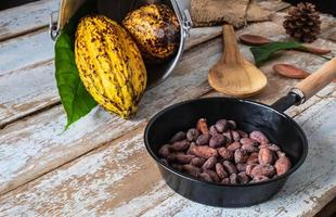 rauwe cacaobonen en cacaopeulen