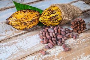cacao en rauwe cacaobonen foto